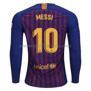 Fotbalové dresy levně Barcelona Lionel Messi 10 domáci dres dlouhým rukávem 2018-19